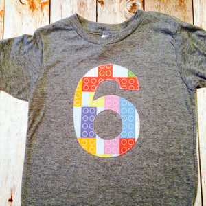 Construction Bricks Birthday Shirt Birthday Boys Birthday Theme- grey Short Sleeves 6 six 6th any number 1 2 3 4 5 one two three four five
