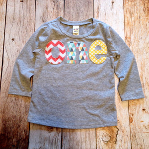 one 1st Birthday Shirt camp boy coral chevron blue aqua teal grey triangles yellow feather arrows wood tree deer camp onederland birds fox