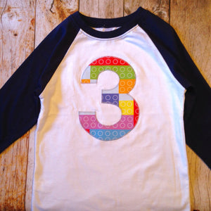 3 Year Old Three 3rd Navy White Raglan LIMITED EDITION Building Bricks Fabric Birthday Shirt