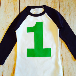 My First Birthday Navy And White Raglan Shirt Green Number Boys 1st T