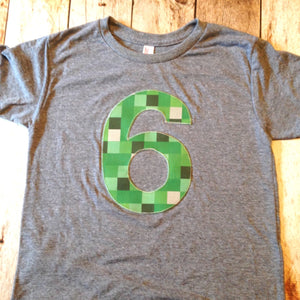 Triblend grey tnt ANY NUMBER green 8 pixel video game Fabric Birthday Shirt older kids 7th 8th 9th birthday boy tnt water land hacks 6 7 8 9