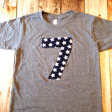Any Number Birthday Shirt Boys 1st Grey TShirt Navy white patriotic stars Boys First 1 2 3 4 5 6 7 8 9 year old military army 4th of July