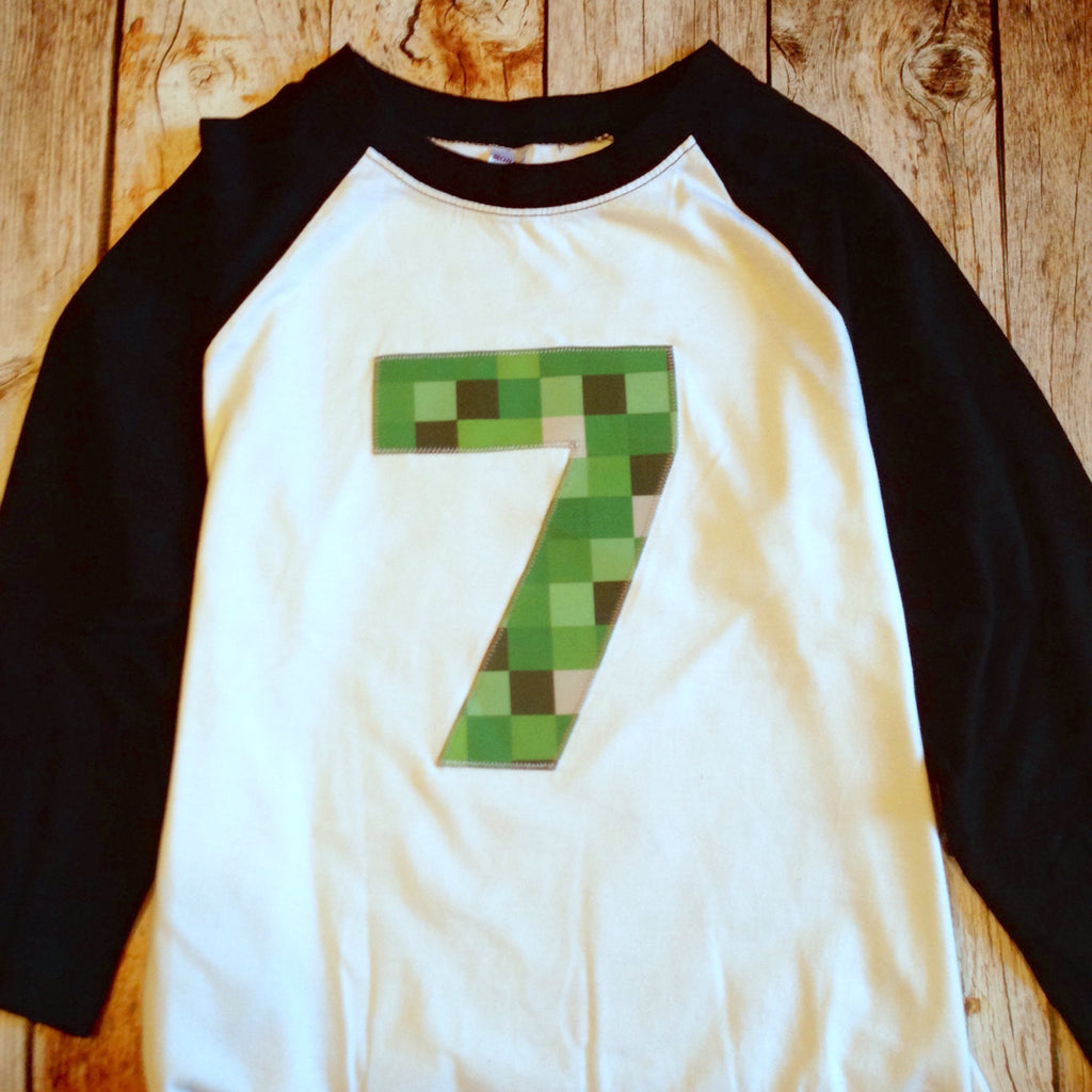 Black And White Baseball Raglan ANY NUMBER Green 8 Pixel Video Game Fabric Birthday Shirt Older