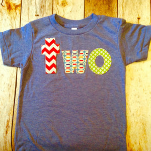 athletic blue Birthday Shirt for 2 year old 2nd Birthday lowercase two with red chevron, pez and green circles