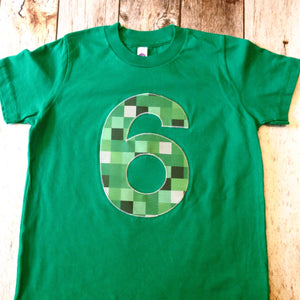 Be mine tnt ANY NUMBER green 8 pixel video game craft fair Birthday Shirt older kids 7th 8th 9th birthday boy tnt water land hacks 6 7 8 9