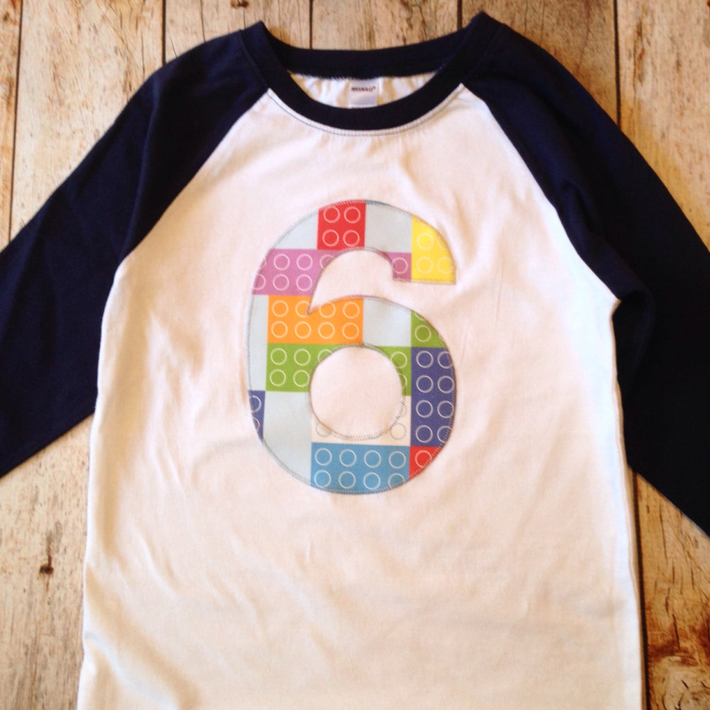 6 Building Bricks Birthday Shirt 6th six Birthday Boys Navy and White Raglan stacking blocks 1 2 3 4 5 7 8 9 one two three four five 1st 2nd
