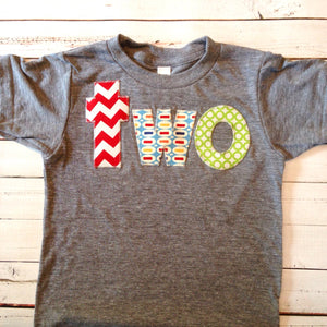 Birthday Shirt for 2 year old 2nd Birthday shirt lowercase two with red chevron, pez and green circles primary colors red green blue yellow