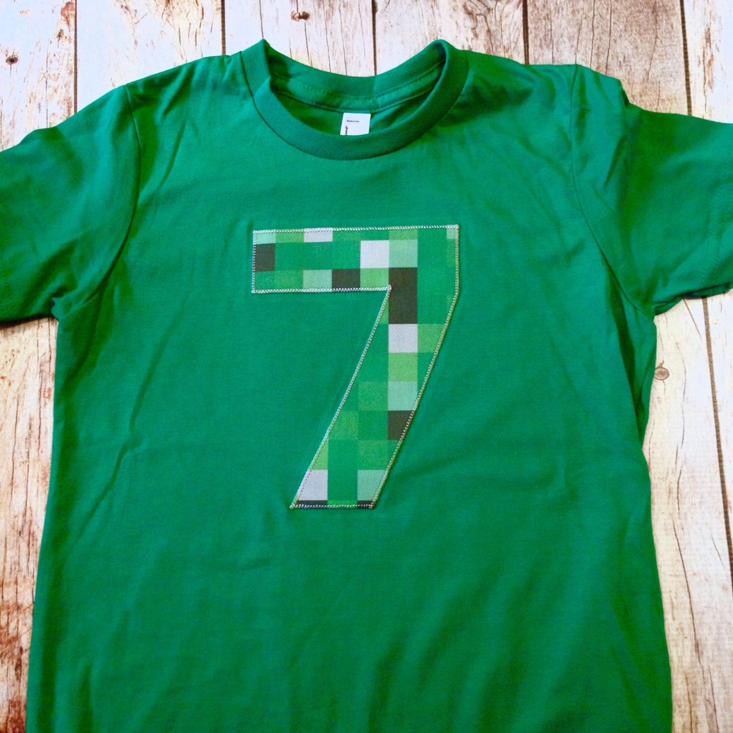 8th Birthday ANY NUMBER green 8 pixel video game Fabric Birthday Shirt older kids 7th 8th 9th birthday boy tnt water land hacks 6 7 8 9