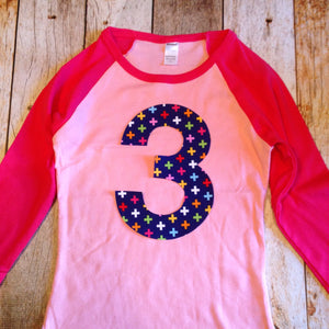 Pink Navy Birthday Shirt ANY NUMBER Sports Baseball Rainbow Swiss Cross Fuchsia Raglan TShirt Girls