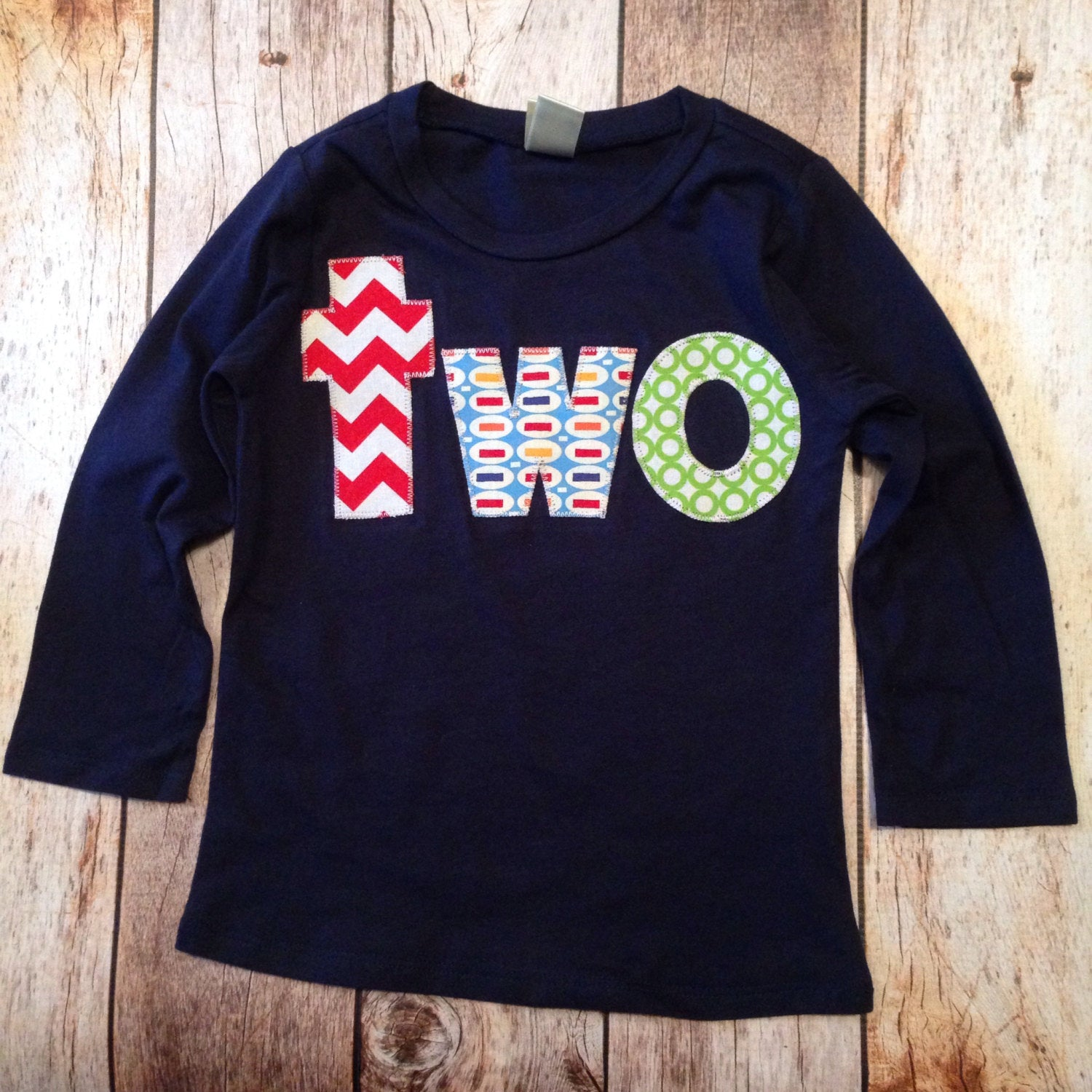 red aqua green birthday shirt Navy long sleeve FAN PHOTO lowercase two with red chevron, blue pez, green circles for 2 year old boys 2