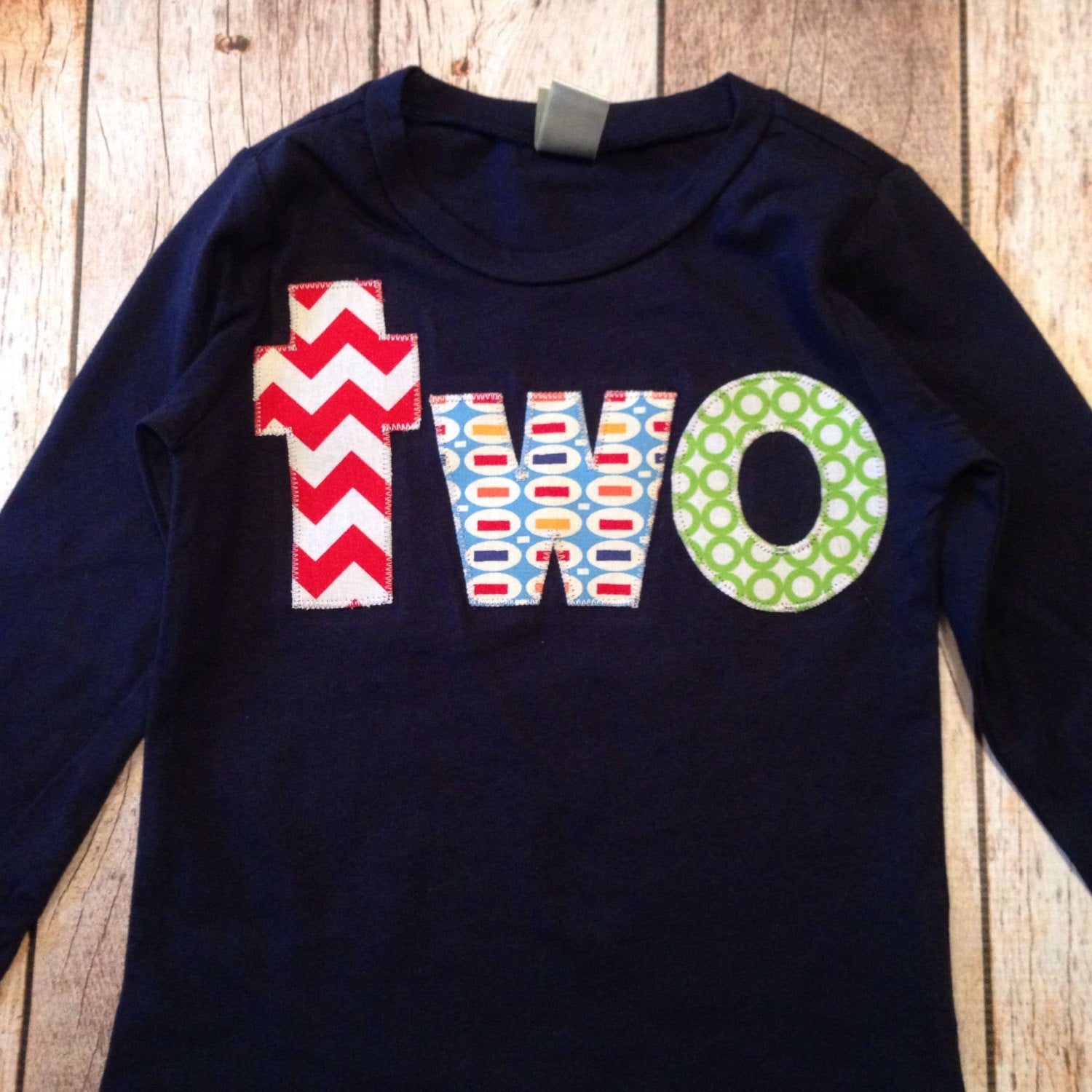 FAN PHOTO lowercase two Long Sleeve Birthday Shirt  in navy with red chevron, blue pez, green circles for 2 year old