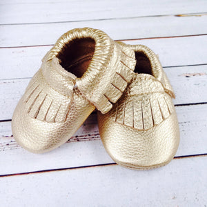 Gold Fringe Girls infant one 1st Birthday photography invitation ideas infant Moccasin crib shoes for baby