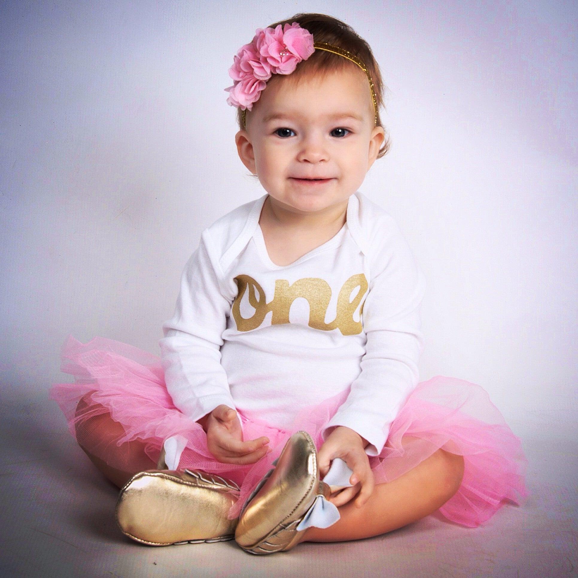 One Year Old Outfit With Baby Moccasin Shoes White Pink Easter Tutu Long Sleeve Gold Glitter Onesie Pettiskirt Girls 1st Birthday Christmas