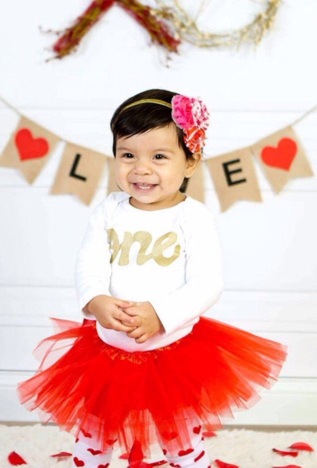 Gold Headband heart flowers Love  red tutu Leg Warmers, long sleeve gold glitter one onesie- red headband- girls 1st Birthday outfit- girls first birthday
