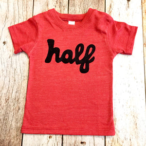 half 6 month old milestone birthday shirt, mint, grey, red,  party 1 year old baby infant gift- not stickers