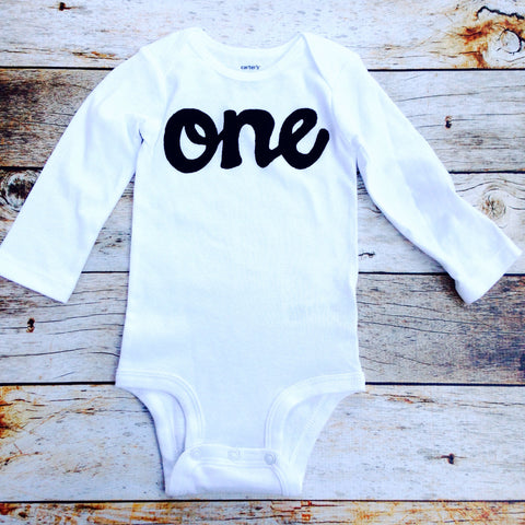 Black on white with long sleeve one onesie- boys 1st Birthday outfit first birthday outfit for baby photography