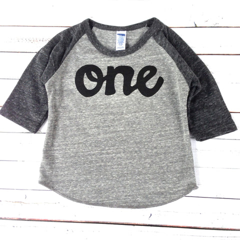 Baseball sports boys charcoal and grey 1st birthday shirt with black script one kids birthday theme first party