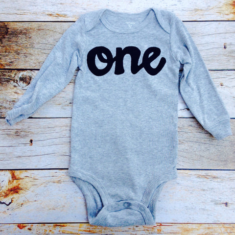 Black on Heather grey with long sleeve one onesie- boys 1st Birthday outfit first birthday outfit for baby photography