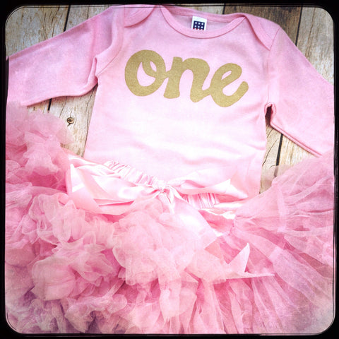 Fluffy pettiskirt tutu with pink long sleeve gold glitter one onesie- girls 1st Birthday outfit Christmas- girls first birthday outfit