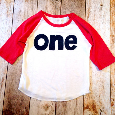 Baseball sports boys red and white 1st birthday shirt with navy one kids birthday theme first party