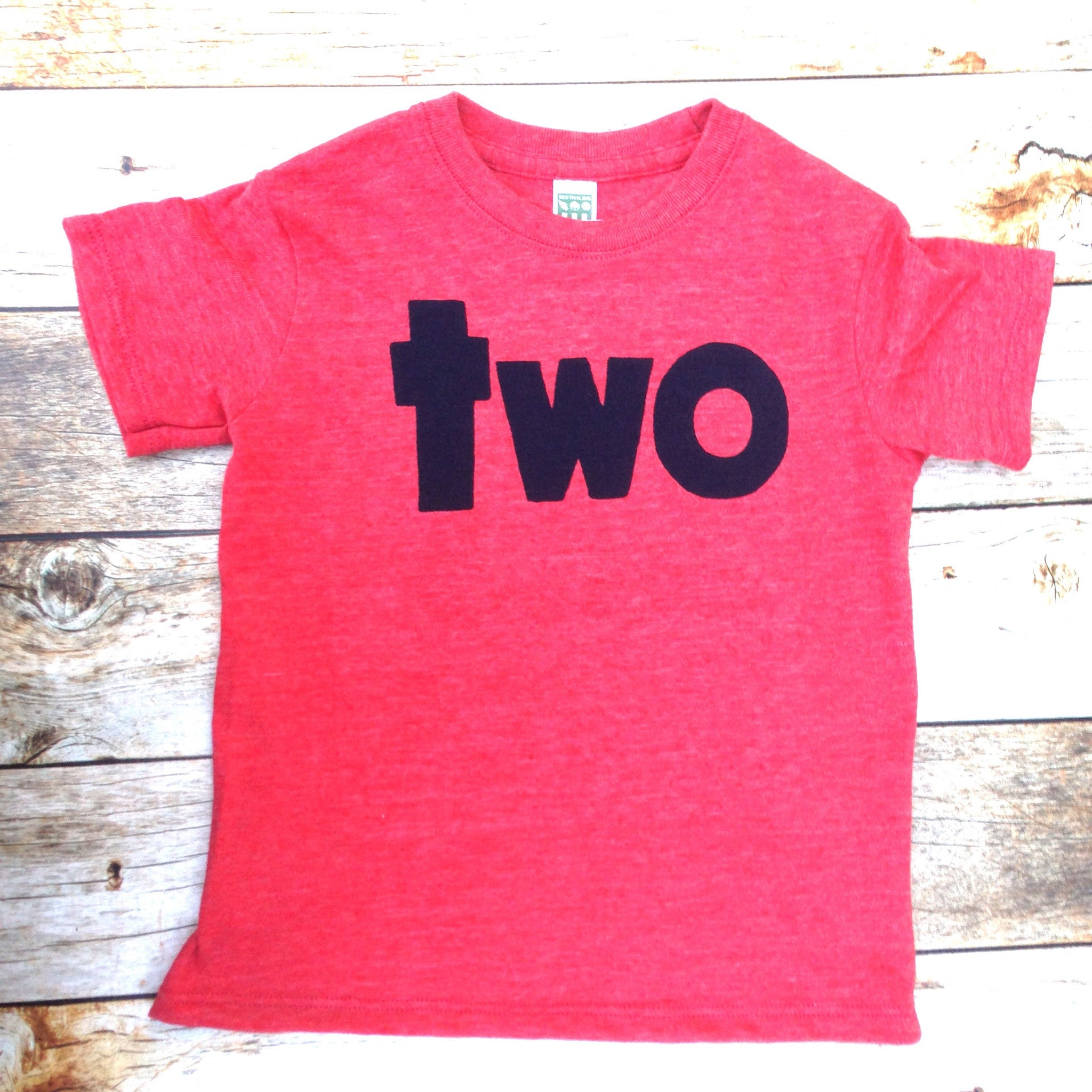 Triblend red boys 2nd birthday shirt with navy two kids birthday theme second party