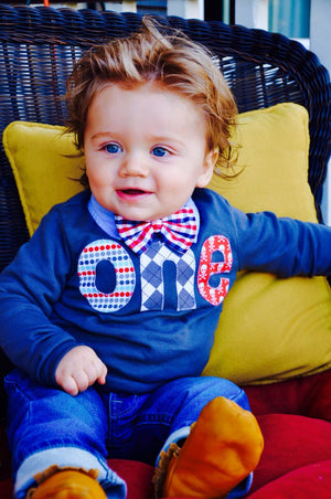 1st Navy long sleeve one Birthday Shirt- grey red blue - applique dots, argyle, pirate skulls- Boys 1st Birthday