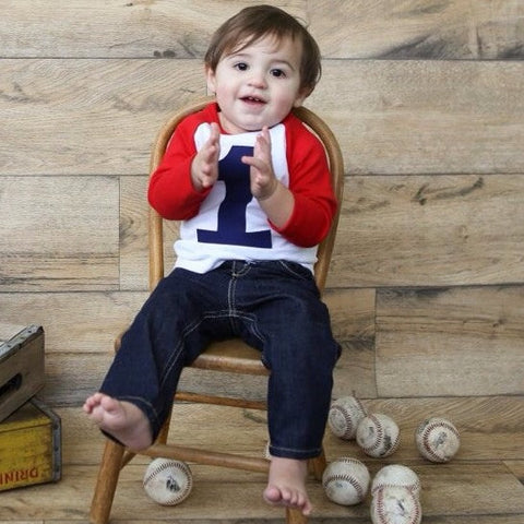 Baseball photo prop Pictures red and white raglan boys 1st birthday shirt with navy one kids birthday theme first party