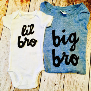 Big Sis lil bro set, newborn photography, big bro or big sis sibling shirts for birth announcement hospital outfit with newborn Colors- red, blue, grey, mint, purple- boys girl kids shirt