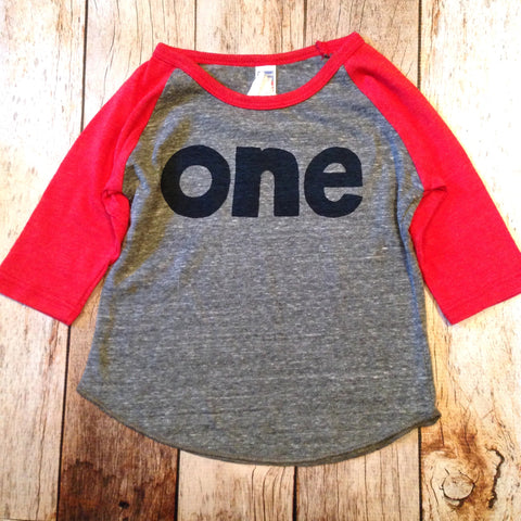 Baseball sports boys Red and grey 1st birthday shirt with navy one kids birthday theme first party
