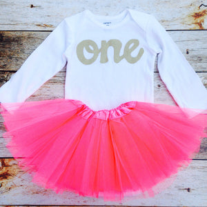 00c4e5944 Watermelon pink tutu with long sleeve gold glitter one onesie- girls ...