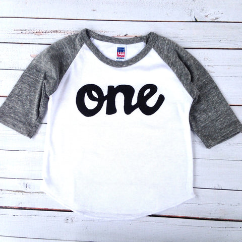 Baseball sports boys grey and white 1st birthday shirt with black script one kids birthday theme first party