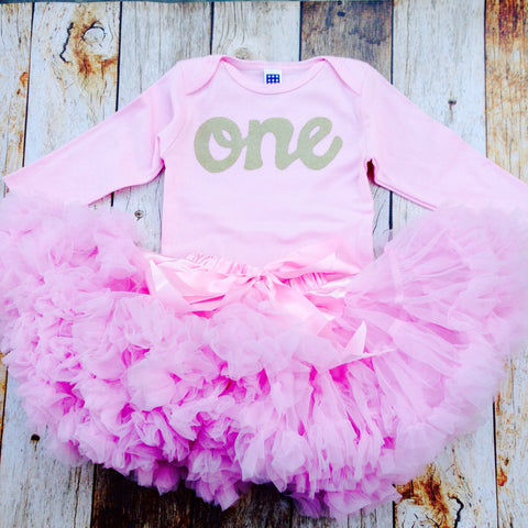 Pink Fluffy pettiskirt tutu with pink long sleeve gold glitter one onesie- girls 1st Birthday outfit Christmas- girls first birthday outfit