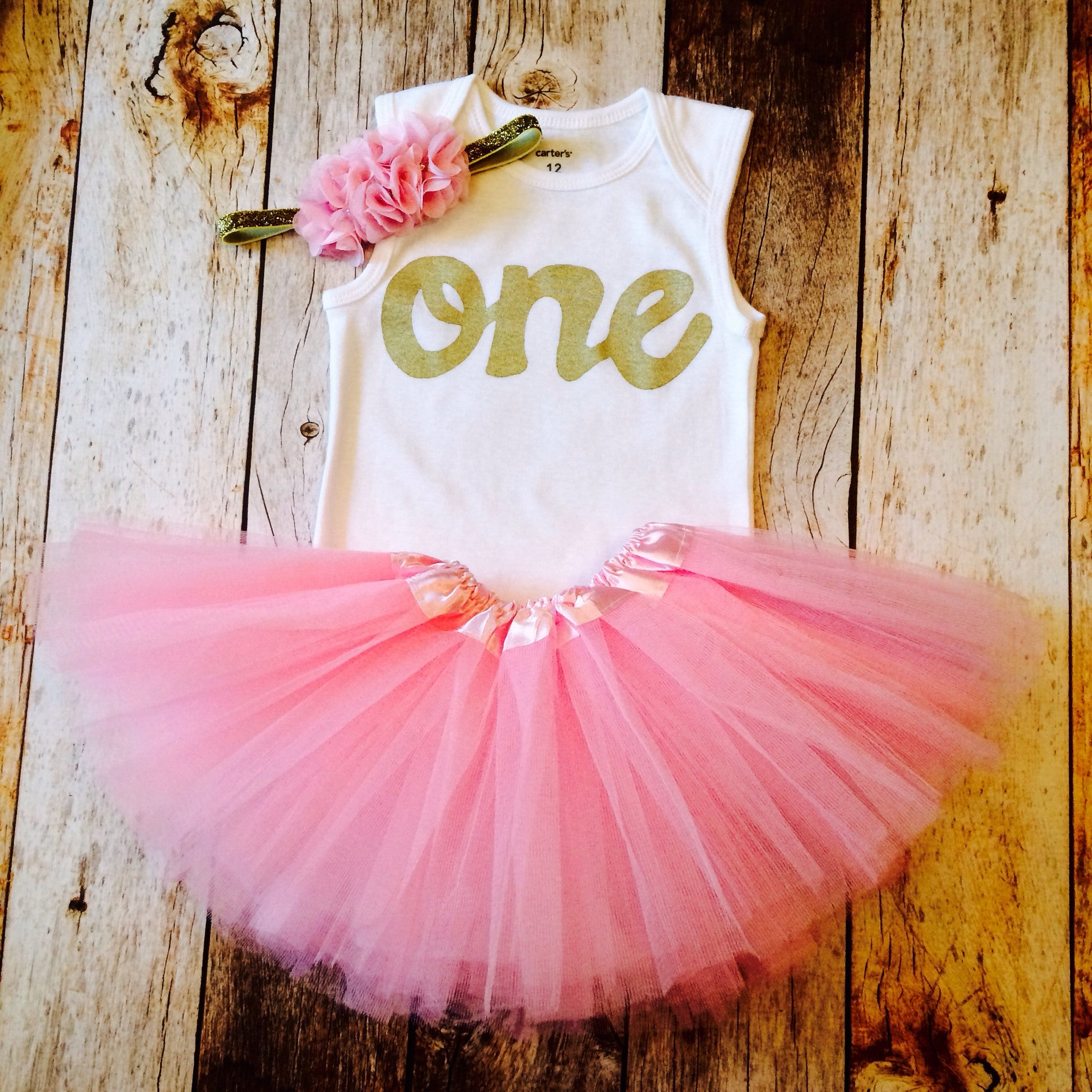 caab4ffa2 Petal pink tutu set, girls 1st birthay outfit, tank top gold one onesie,  pink and gold 1st Birthday outfit, girls first birthday outfit.