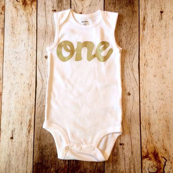 gold glitter one tank onesie- girls 1st Birthday outfit first birthday outfit.