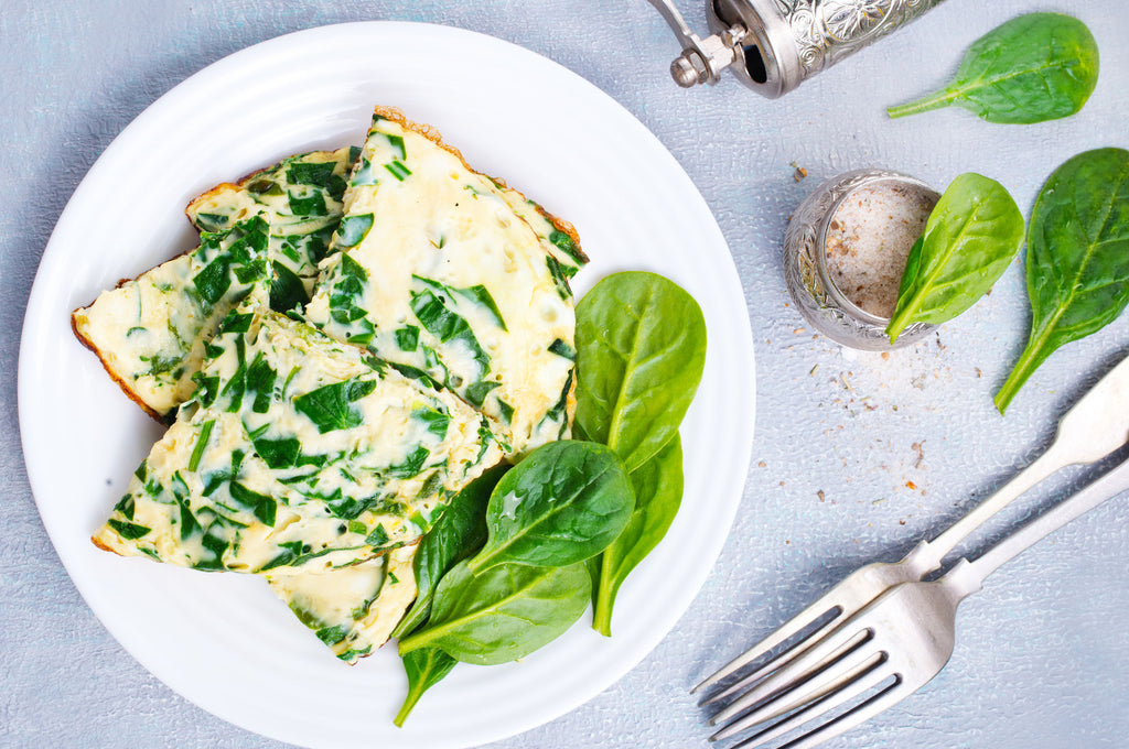 Egg and spinach omelet on a plate