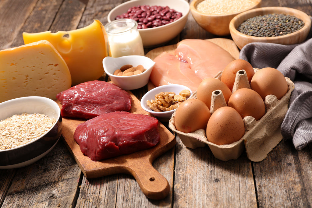 How to get shredded: Proteins, including meat, eggs, dairy, legumes, and whole grains