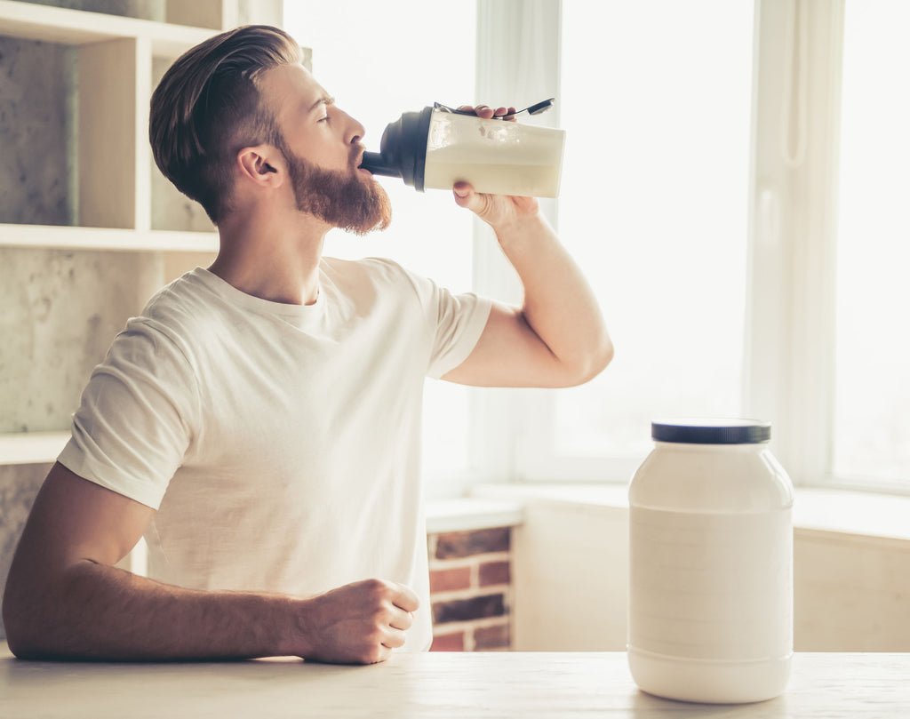 whey protein vs isolate: man hydrating