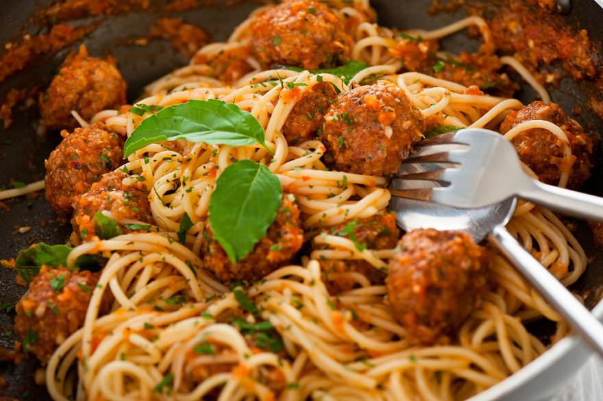 spaghetti meal closeup /><strong>Tips to increase the calorie and protein content of spaghetti and meatballs:</strong></p> <ul> <li>Eat a larger portion, especially of the meatballs which is where most of the protein in this recipe is coming from.</li> <li>Use ground beef that is higher in fat to increase the calorie content, although it would not change the protein content as much.</li> <li>Consider a high protein pasta, like this <a href=