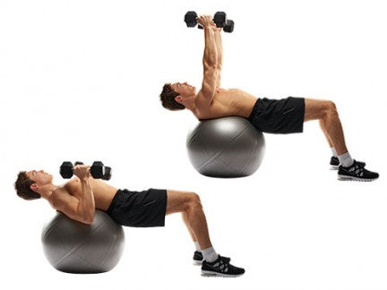 Dumbbell Chest Press on Swiss Ball