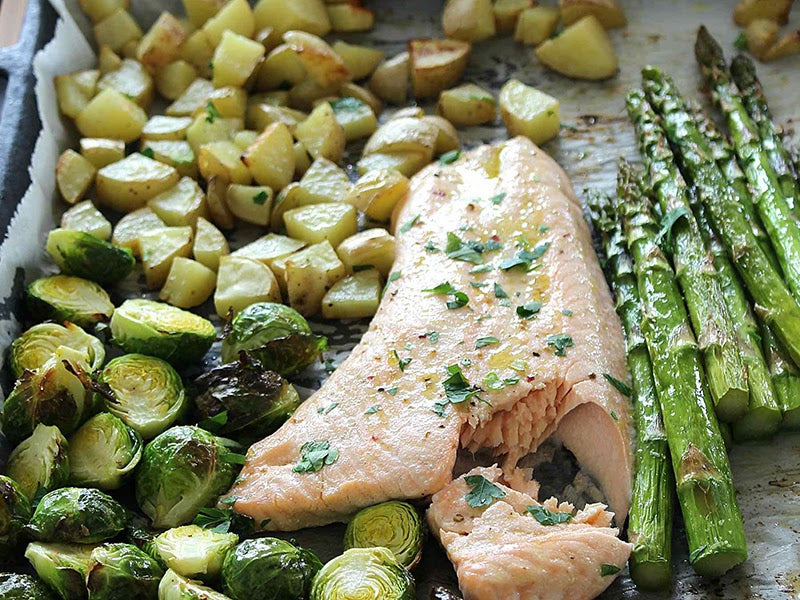 Sheet pan salmon and roasted vegetables