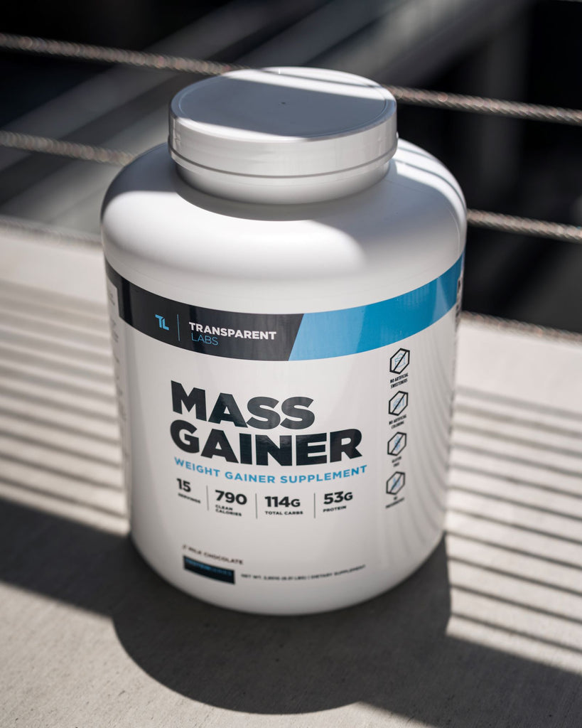 How long does it take to build muscle: Mass Gainer supplement bottle