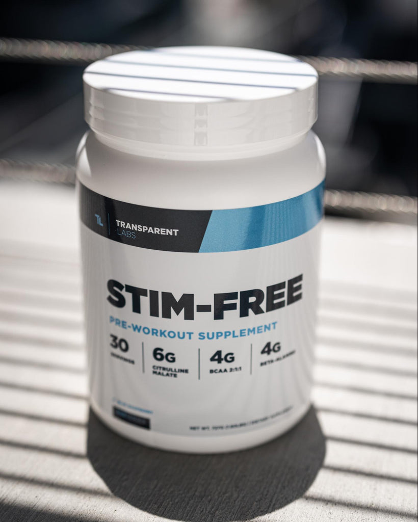 Pre workout ingredients: Bottle of Transparent Labs PreSeries STIM-FREE supplements