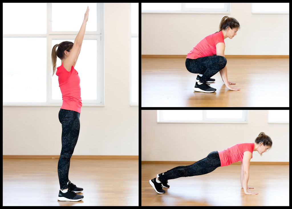 Full body workout at home: Collage image of a woman exercising