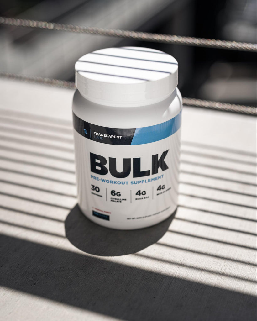 Pre workout ingredients: Bottle of Transparent Labs PreSeries BULK supplements