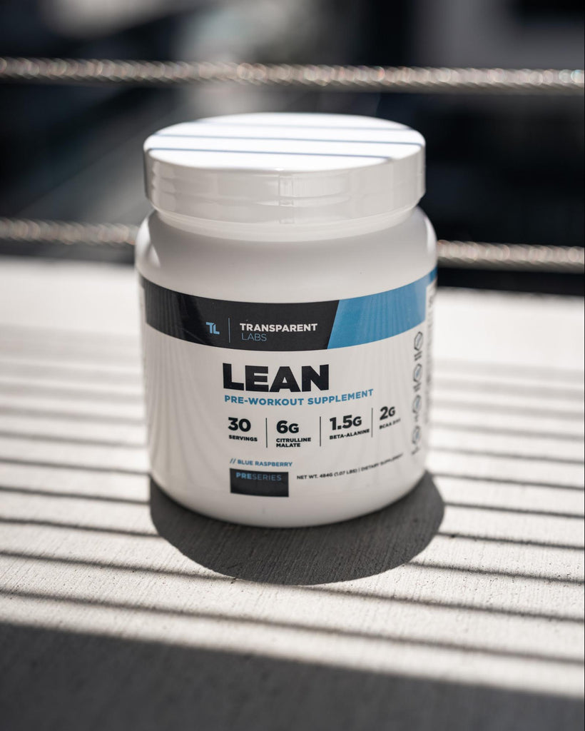 Pre workout ingredients: Bottle of Transparent Labs PreSeries LEAN supplements