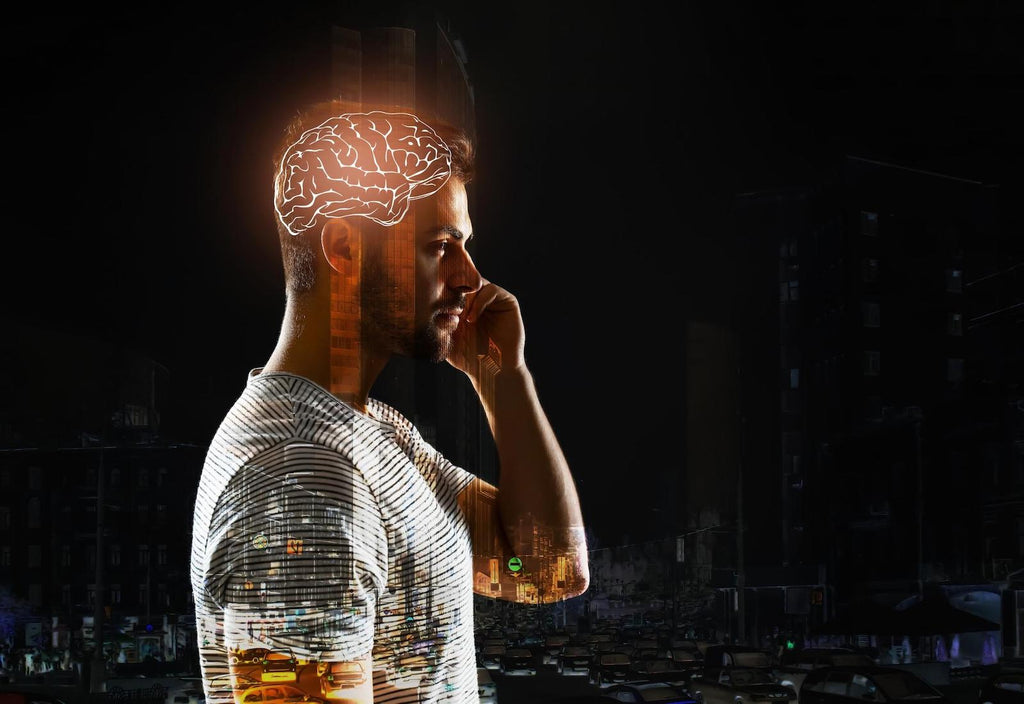 Best CoQ10 supplement: Double exposure of man with glowing brain and city