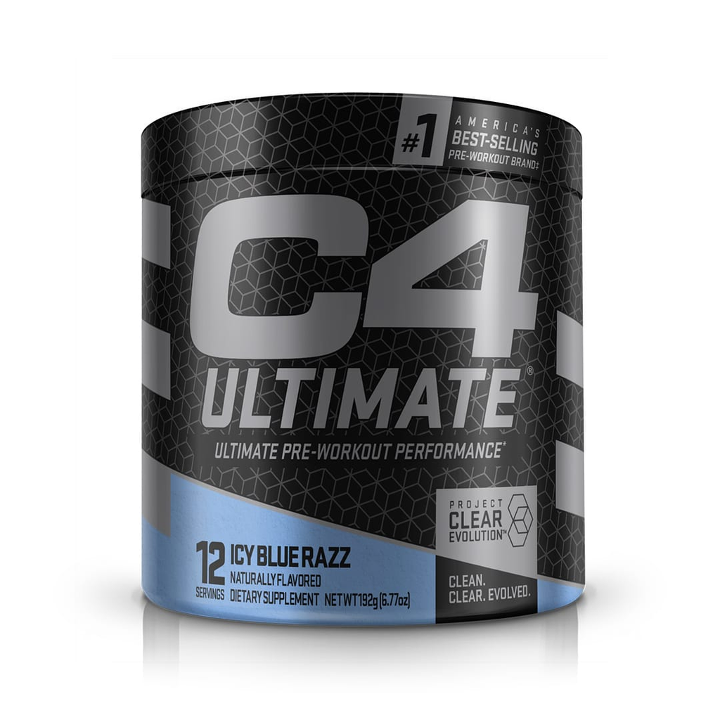 Pre workout ingredients: Bottle of Cellucor C4 Ultimate supplements