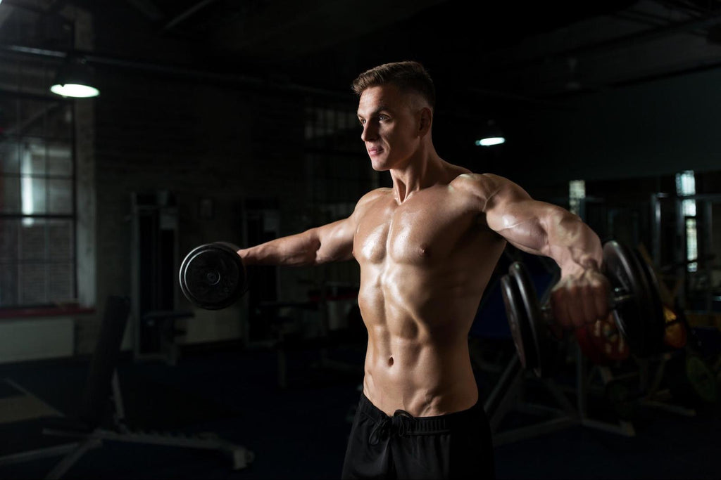 Deltoid workouts: Man doing shoulder workout