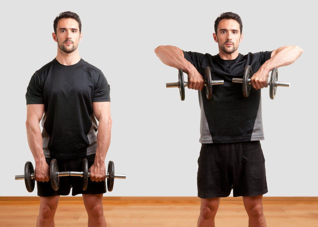 Deltoid workouts: Man doing dumbbell upright row exercise