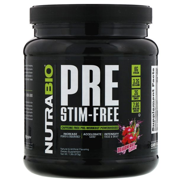 Pre workout ingredients: Bottle of NutraBio Pre Stim-Free supplements